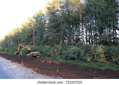 RUSSIA, SEPTEMBER 22, 2017: Repair of the road in the Republic of Mari El