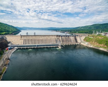 Russia, Siberia, Krasnoyarsk a view from height on hydroelectric power station on the Yenisei River, shooting from air, soft focus