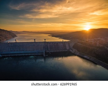 Russia, Siberia, the river Yenisei, dam of hydroelectric power station, decline, picture from air