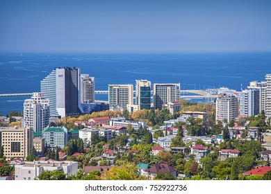 RUSSIA, SOCHI - AUGUST 30, 2015: Panoramic view of Sochi city center, Russia, August 30, 2015.
