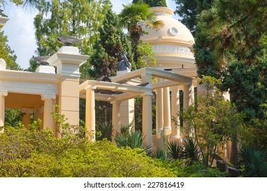 "Russia, Sochi, gazebo in the city park ""Dendrarium"" (Arboretum)."