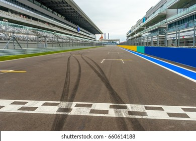 Russia, Sochi,  May 2, 2015. The starting line on the track Formula 1. The first race took place on October 12, 2014