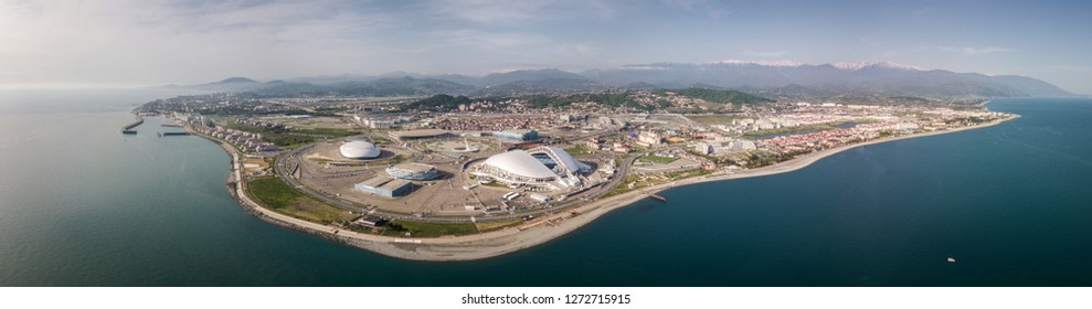 Russia, Sochi - October 15, 2018: SOCHI, RUSSIA Sochi Olympic Fire Bowl in the Olympic Park Aerial. Sochi Olympic Fire Bowl in the Park. Central stella and Stadium Fisht built for Winter Games