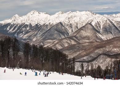 "Russia, Sochi, resort  ""Krasnaya Polyana"" (Red Meadow)."