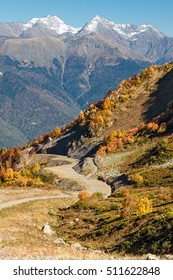 """Russia, Sochi, resort """"Krasnaya Polyana"""". In the mountains of the Caucasus come autumn. Vibrant fall colors of alpine meadows and foothills."""