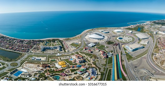 Russia, Sochi - September 03, 2017: Big panorama of the Olympic Park in Sochi. The venue of the 2014 Olympics, Formula 1, FIFA World Cup 2018 in Russia.