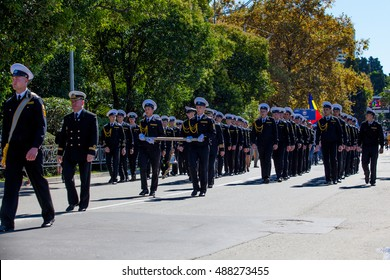 RUSSIA, SOCHI - SEPTEMBER 24, 2016 :SCF Black Sea Tall Ships Regatta 2016. Ship teams parade from sailing ships