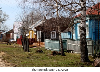 Russia. spring. rural landscape, old houses