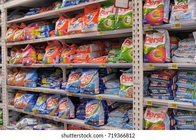 Russia, St. Petersburg, 02,05,2014 Washing powder on supermarket shelves