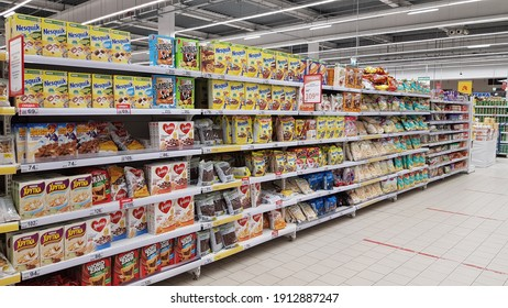 Russia, St. Petersburg 03.02.2021 Expenses for children on a shelf in a supermarket