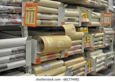 Russia, St. Petersburg, 03,04,2014 wallpaper in the store of building goods for home