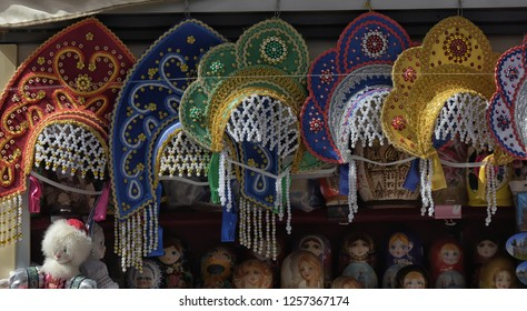 Russia, St. Petersburg, 05/09/2015 Kokoshniki on sale in a souvenir shop