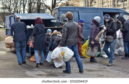 Russia, St. Petersburg, 05,12,2015 Activists' action on separate garbage collection in St. Petersburg