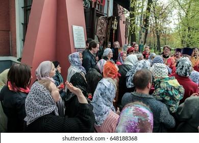 Russia. St. Petersburg - 05/21/2017: Religious procession around the Church of St. John the Baptist on Krestovsky Island