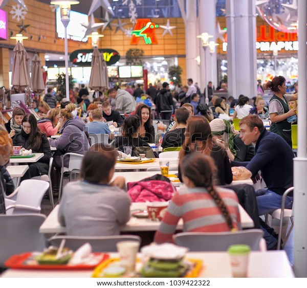 Russia, St. Petersburg, 07,12,2014 People in a cafe in a shopping center