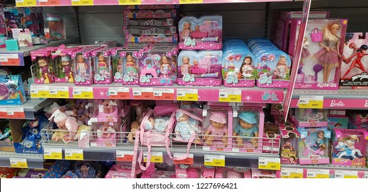 Russia, St. Petersburg, 10,11,2018 Barbie and Evi dolls on store shelves