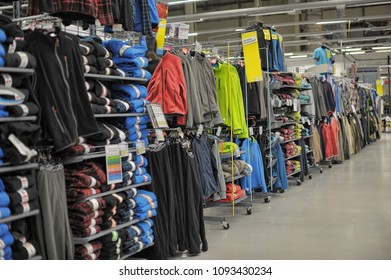 Russia, St. Petersburg, 11,01,2014 Hoodies and other clothes in the sports shop Decathlon