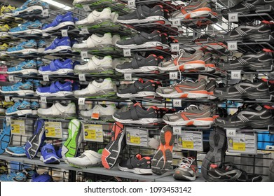 Russia, St. Petersburg, 11,01,2014 Sneakers in the sports shop Decathlon