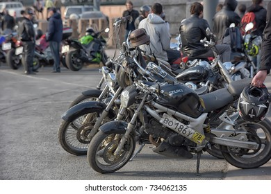 Russia, St. Petersburg, 12,04,2015 Traditional gathering of bikers with motorcycles on the Neva embankment