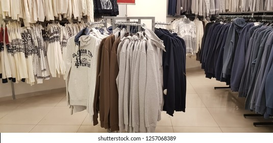 Russia, St. Petersburg, 12,12,2018 Sale of men's clothing in the store Zolla