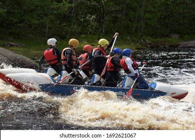 Russia, St. Petersburg 13.06.2015 Rafting on rafts and kayaks, open competitions of Karelia