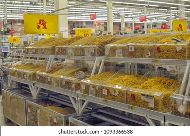 Russia, St. Petersburg, 14,01,2014 Pasta in the store by weight