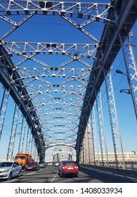 Russia, St. Petersburg 16,05,2019 Bolsheokhtinsky bridge under a blue sky - Peter the Great Bridge