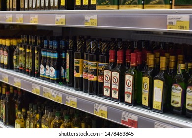 Russia, St. Petersburg 16.07.2016 Olive and sunflower oil for sale in a supermarket