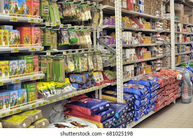 Russia, St. Petersburg 20,02,2014 Food for cats and dogs in a large supermarket