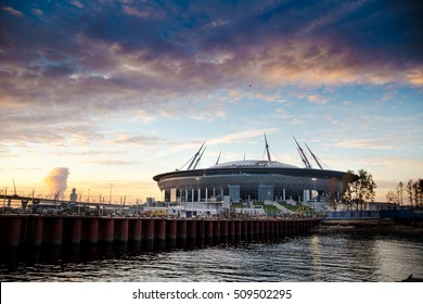 Russia, St. Petersburg, 2016: Construction New Zenit Stadium Zenith Arena, UEFA, Gazprom-Arena, the football World Cup 2018, European Football Championship in 2020, the most expensive stadium