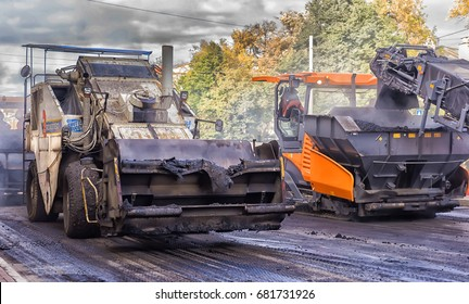 Russia, St. Petersburg 24,09,2016  Replacement of the asphalt pavement in the road,