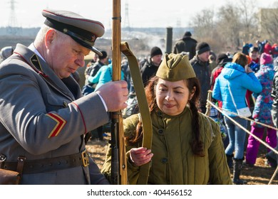 Russia. St. Petersburg. 3 April 2016. Reconstruction of the fighting, hostilities