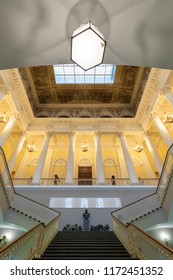Russia, St. Petersburg - August 29, 2018. Interior of the Russian Museum. Main staircase in the State Russian Museum. Russian museum is the largest depository of Russian fine art in St. Petersburg.
