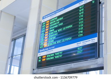 RUSSIA, ST. PETERSBURG -FEBRUARY 11 2017: arrival board at railway Finland Station.In Russia railway communication is very developed.
