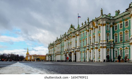 Russia, St. Petersburg, February 2020: Winter Palace and the second largest museum in the world, the State Hermitage Museum on Palace Square in St. Petersburg, Russia