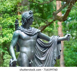 Russia, St. Petersburg - June 7, 2017: Architectural extravagances, aesthetic frills. Bronze sculpture of Adonis