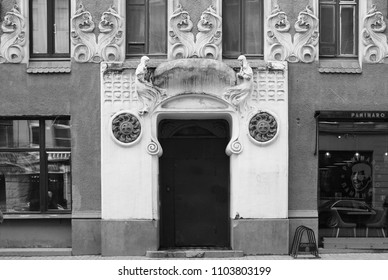 RUSSIA, ST PETERSBURG - MAY 08, 2018: Fragment of the facade of the apartment house and the entrance to the Art Nouveau style on Bolshaya Zelenina Street in St. Petersburg - Shutterstock ID 1103803199