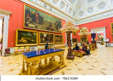 Russia, St. Petersburg, November 15, 2017. The interior of the Hermitage Museum
