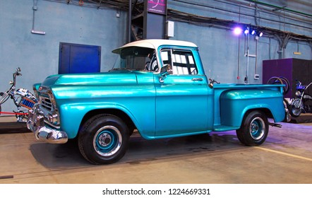 Russia, St. Petersburg, Octouber 14, 2017: Blue 1959 Chevrolet Apache 3100 classic pickup truck on Custom & Tuning Show.
