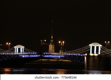 Russia, St. Petersburg, the palace bridge and the Peter and Paul Fortress