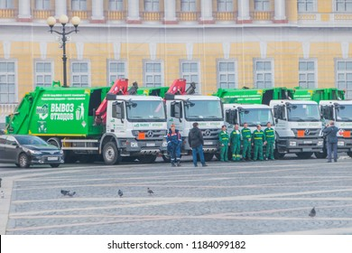 Russia, St. Petersburg, September 19, 2018 - the parade of cleaning equipment, cars on Palace square at the Hermitage