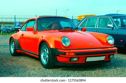 Russia, St. Petersburg, September 8, 2018: Luxury German sports car Porsche 911 Turbo on Festival of Retro Technics Fortuna.