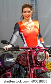 Russia. St. Petersburg-03.08.2017: a girl on a motorcycle at the festival of bikers, the first day of the festival in St. Petersburg. Approximate edition