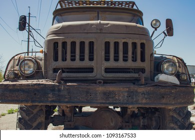 Russia, Stavropol - April 30, 2018: old abandoned car of Russian origin