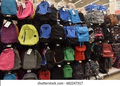 Russia, St.Petersburg, 22,07,2017 School backpacks in the store