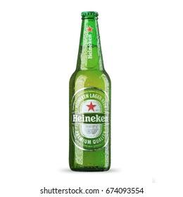 RUSSIA, St.Petersburg, 9 july 2017. Bottle of Heineken Lager Beer on white background