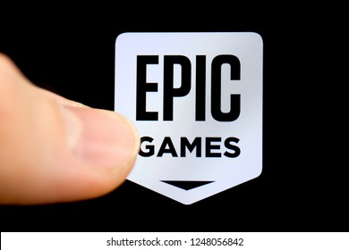 RUSSIA, ST.PETERSBURG - December 03, 2018: American company Epic Games on the smartphone with finger