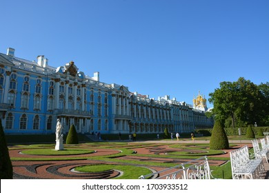 Russia, St-Petersburg - July 2019: Tsarskoye Selo is a museum-reserve in the city of Pushkin, which includes a palace and park ensemble of the 18th-19th centuries, a former suburban royal residence