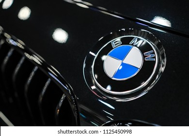 RUSSIA, ST.PETERSBURG - june 6, 2018:  bmw  logo close up
