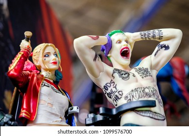 RUSSIA, ST.PETERSBURG - MAY 05, 2018: Joker and Harley Quinn doll suicide squad